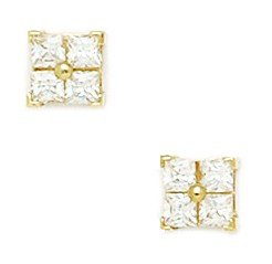 14ct Yellow Gold CZ Small 4 Segment Square Fancy Post Earrings - Measures 6x6mm