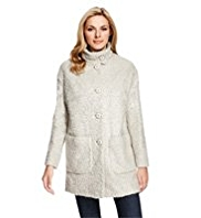 M&S Collection Funnel Neck Bouclé Coat with Wool