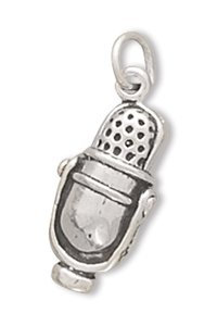 "Sterling Silver Microphone Charm With 18"" Steel Chain"
