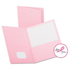 - Twin-Pocket Folder, Embossed Leather Grain Paper, Pink