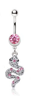 Pink Crystal Exquisit Egyptian Snake Dangle Belly Bar Navel Ring