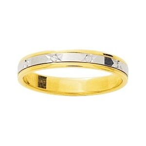 So Chic Jewels - 9k Yellow Gold Two-tone 3.5 mm Fantasy Pattern Wedding Band Ring