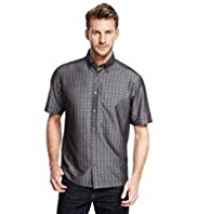 Button-Down Collar Fine Checked Shirt