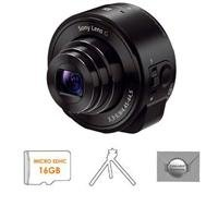 Sony Dsc-Qx10 Smartphone Attachable Lens-Style Camera, Black - Bundle - With 16Gb Microsdhc Card, Aluminum Tripod, And New Leaf 3 (Drops & Spills) Extended Warranty