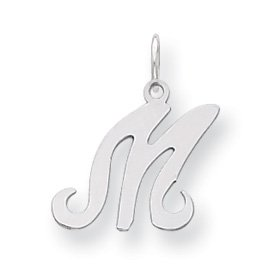 Sterling Silver Stamped Initial M Charm - JewelryWeb