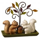 Squirrel Salt & Pepper Set Tree Holder Stand Autumn Fall Gift by Grasslands Road