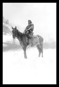 30 x 20 Stretched Canvas Poster Native American in Snow