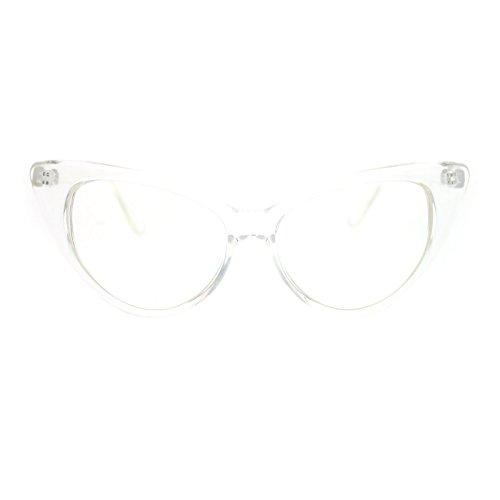 [Womens Goth Mod Chic Classic Retro Cat Eye Optical Glasses Clear] (Clear Cat Eye Glasses)