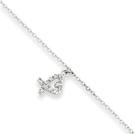 Sterling Silver 10 +1inch Ext Hanging CZ Heart Anklet - JewelryWeb