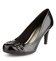 M&S Collection Leather Double Buckle Court Shoes