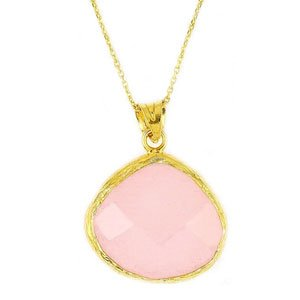 Yellow Gold over Sterling Silver & Pink Quartz Necklace Pendant with Adjustable Chain (16