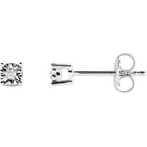14kt White .04 CTW Diamond Illusion Stud Earrings