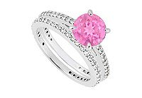 14K White Gold Pink Sapphire Diamond Engagement Ring with Wedding Band Sets 1.25 CT TGW MADE IN USA