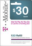 T-mobile $30 Refill Pay As You Go Pre - Paid Phone Card