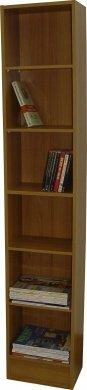 Beech 6 Tier Slim Bookcase