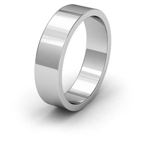 Palladium, 6mm Wide, Flat Shape Heavy Weight Wedding Ring