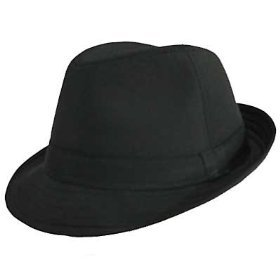 100% Cotton Solid Fedora by Private Island (Black w/ Black Band) at