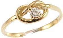 14k Yellow Gold, Dainty Knot Design Ring with Lab Created Round Brilliant Center Stone