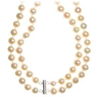 Cultured Freshwater Pearl 2 Strand NEcklace in Sterling Silver