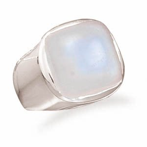 Sterling Silver Soft Side Square Rainbow Moonstone Ring / Size 6