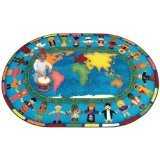 "Joy Carpets Kid Essentials Inspirational Oval Let The Children Come Area Rug, Multicolored, 5'4"" x 7'8"""