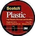 "3M Scotch 191 Colored Plastic Tape, 125"" Length x 1-1/2"" Width, Black"