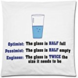 Funny Engineer Quotes Pillowcase, Optimist Pessimist Engineer Cushion Case - Throw Pillow Case Decor Cushion Covers Square with Hidden Zipper Closure - 18x18 inches, One-sided Print