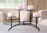 Hosley's Fireplace or Den, 17 Inch Long Iron 5 Pillar Candleholder. Modern Art, Classic Design, Hand Made By Artisans. Complete Gift Out of the Box, for Your Home, Wedding, Gift, Party