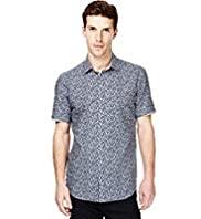 Autograph Luxury Pure Cotton Leaf Print Shirt