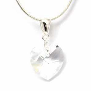 """Pendentif en Forme de Coeur Transparent en Cristal de 18mm """"Réalisé avec des Eléments de Cristaux Swarovski"""" sur une Chaîne de 45cm"""