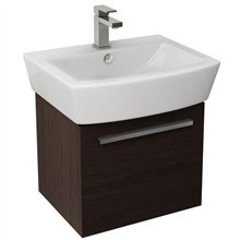 Edge Wenge Wall Mounted Drawer Vanity Unit With Matching Square Basin 55cm