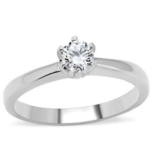Stainless Steel Solitaire Round Cubic Zirconia Engagement Ring (6)