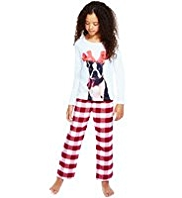 Pure Cotton Dog Print Checked Pyjamas