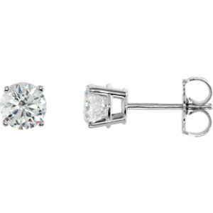Sterling Silver 6mm Round Cubic Zirconia Earrings