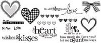 Unity Stamps Unmounted Red Rubber Stamps Wishes & Kisses