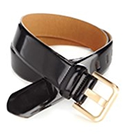 M&S Collection Coated Leather Patent Square Buckle Belt
