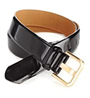 Coated Leather Patent Square Buckle Belt