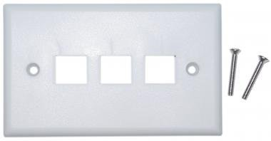 Offex Wholesale Wall Plate, 3 Hole For Keystone Jack, White [Electronics]