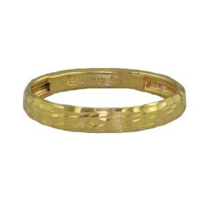 3MM Diamond Cut Made in Italy Gold Plated Wedding Band in Sterling Silver (Available in Sizes J - Z)