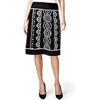 Per Una Linen Blend A-Line Embroidered Skirt