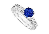 Sapphire and Diamond Engagement Ring with Wedding Band Set 14K White Gold - 0.75 CT TGW MADE IN USA