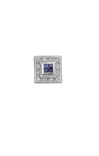 14K White Gold Classy Diamond and Sapphire Tie Tac-86626