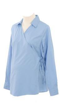 Lilo Maternity Long Sleeved Wrap Shirt Light Blue