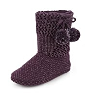 Per Una Knitted Pom-Pom Boot Slippers