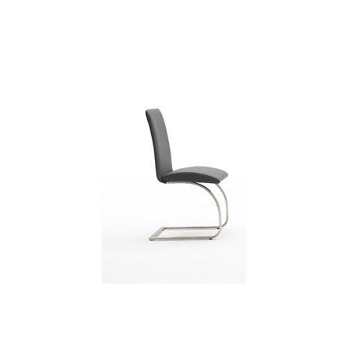 2x-Schwingstuhl-ECHT-LEDER-grau-Freischwinger-Esszimmerstuhl-Polsterstuhl