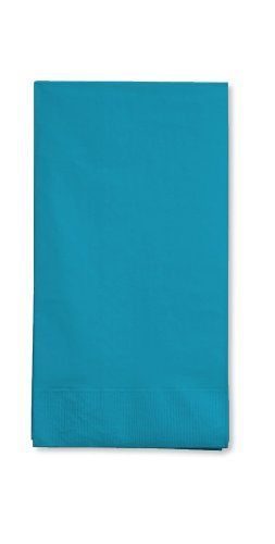 Creative Converting Touch of Color 16 Count 3-Ply Paper Guest Napkin, Turquoise