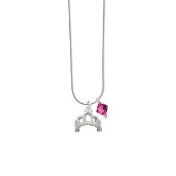 Silver Tiara Fuschia Swarovski Bicone Charm Necklace [Jewelry]