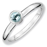 0.24ct Stackable 4mm Round Aquamarine Ring Band. Sizes 5-10 Available