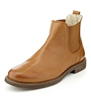 Leather Ankle High Chelsea Boots