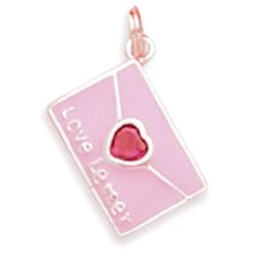 Valentine Letter Charm Crystal Sterling Silver Child's Necklace Child's Size Chain Included